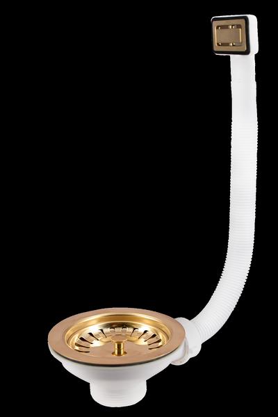 GOLD BASKET STRAINER WASTE WITH RECTANGULAR OVERFLOW – Series 60 Gold